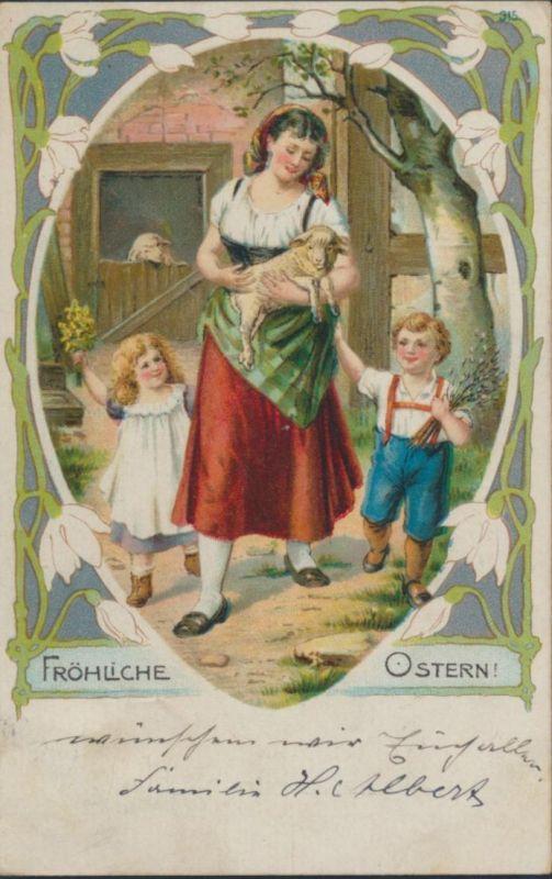 Ansichtskarte Münster nach Kamen Fröhliche Ostern Lamm Schaf Tiere Kinder 0