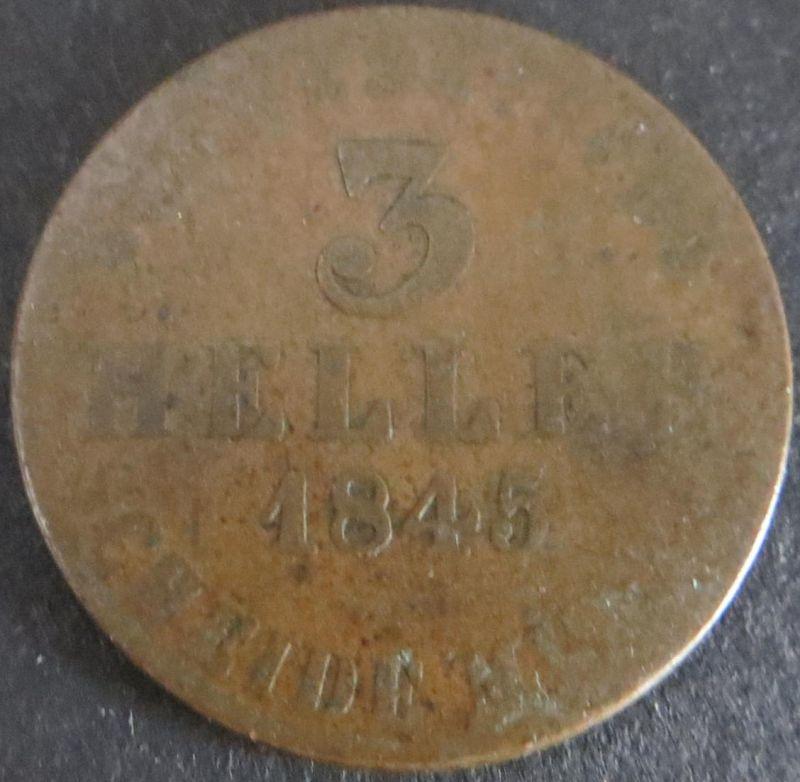 Münze Hessen-Kassel 3 Heller Wilhelm II. 1848 schön F Arnold: 52