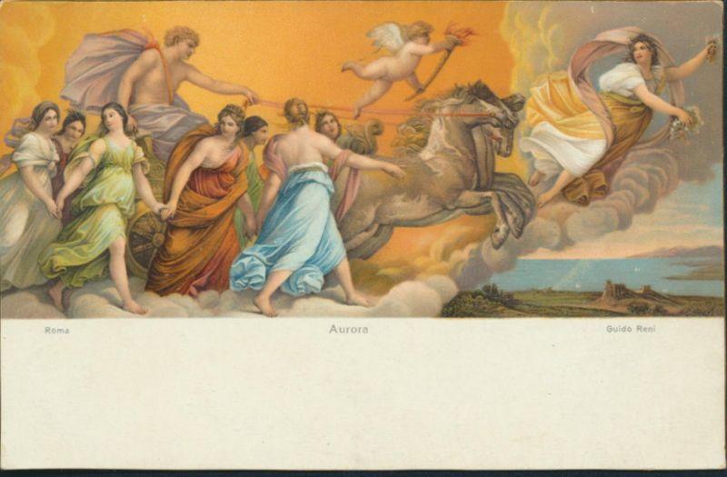 Ansichtskarte Künstlerkarte Guido Reni Aurora Pferde Engel