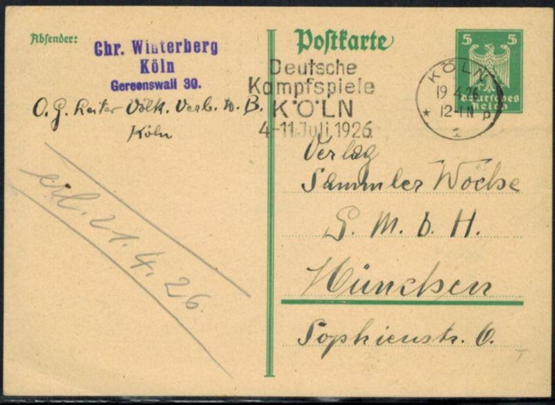Deutsches Reich Ganzsache P 156 Werbe-Stempel Sport Deutsche Kampfspiele Köln