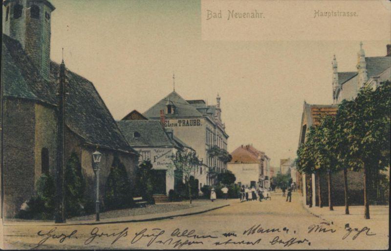 Ansichtskarte Bad Neuenahr Hauptstraße nach Bonn 1906 0