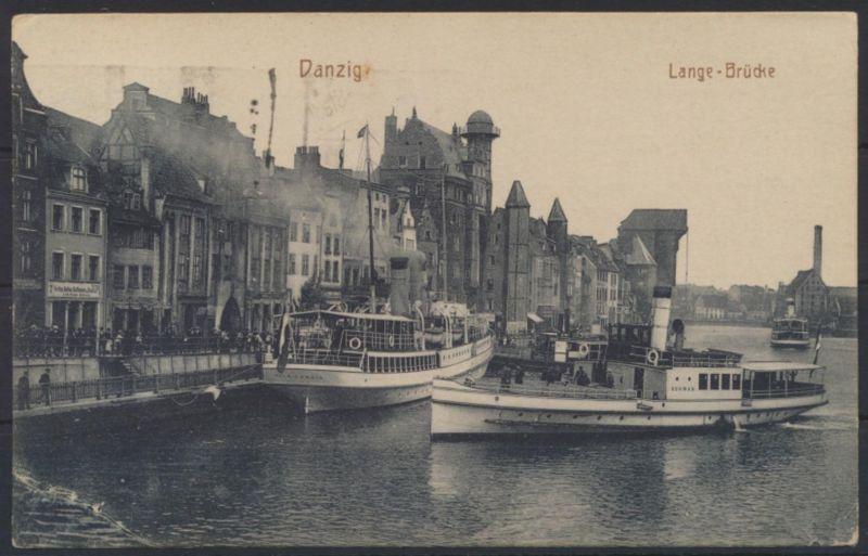 Danzig Ansichtskarte Lange Brücke Schiff Schiiffahrt 194 Stempel Seebad Nr. 57.1