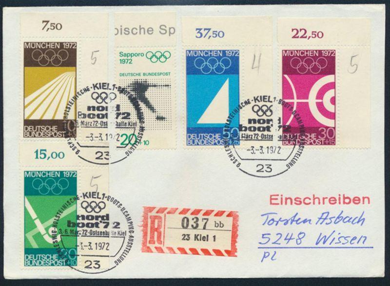 Bund R-Brief Olympia Bogenecke 587-590 SST KIel Boot Camping Ausstellung Wissen
