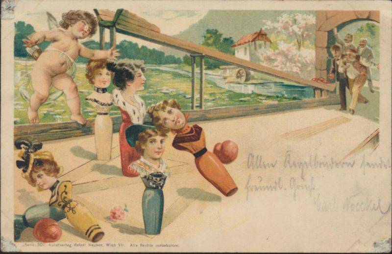 Ansichtskarte Litho Sport Kegeln von Dresden nach nach Gevelsberg 1901