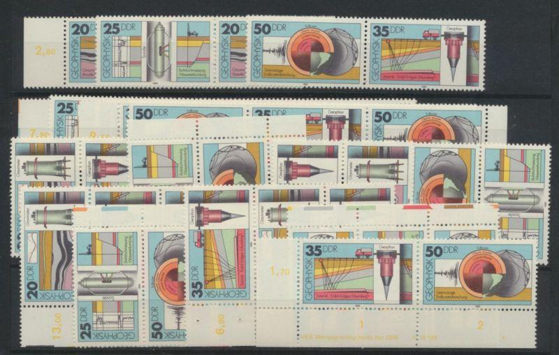 DDR 2557-260 kpl.16 Zusammendrucke Geophysik + Druckerzeichen Kat.-Wert 50,00