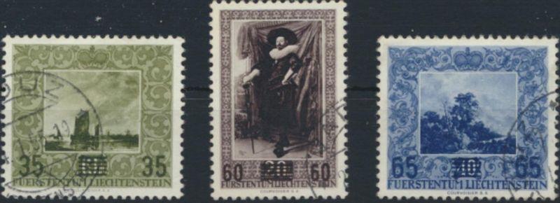 Liechtenstein 326-328 gestempelt  Gemälde aus der Fürstlichen Galerie
