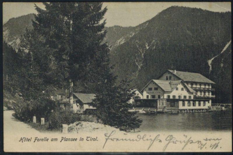 Ansichtskarte Österreich Hotel Forelle Plansee Tirol Posthilfsstellen-Stempel