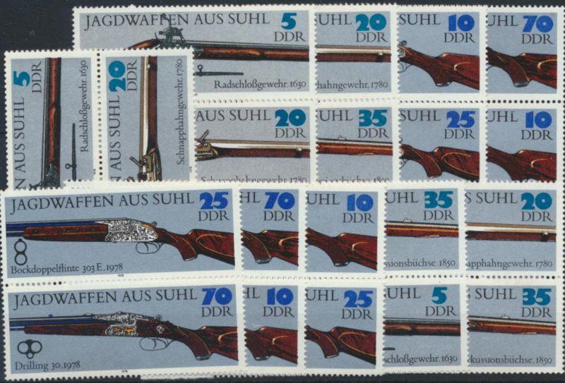 DDR 2376-2381 Jagdwaffen postfrisch Zusammendrucke komplett Kat-Wert 32,00