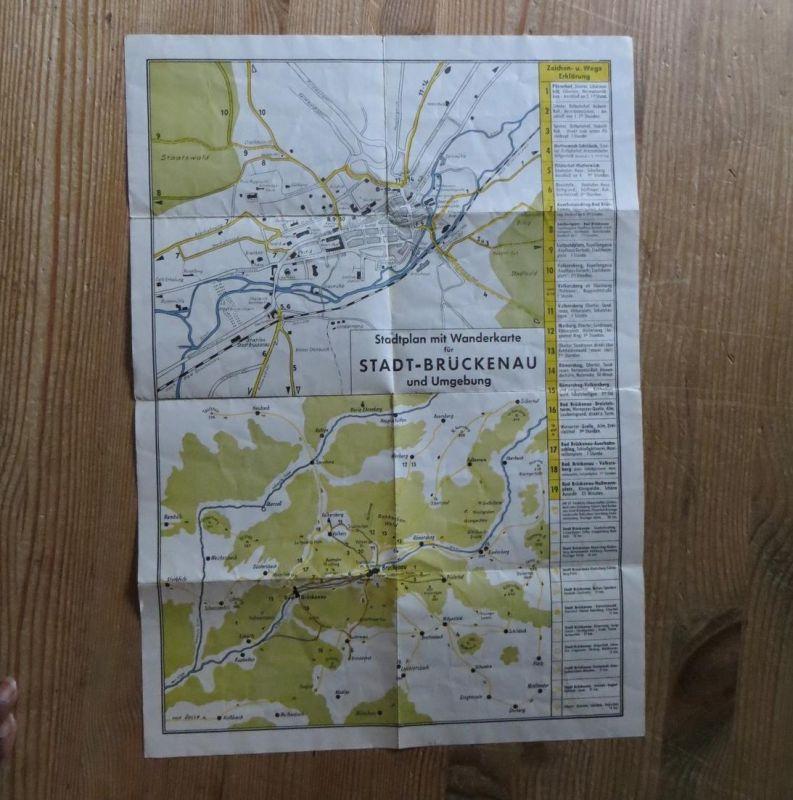 Brückenau alter Stadtplan mit Wanderkarte Bayern