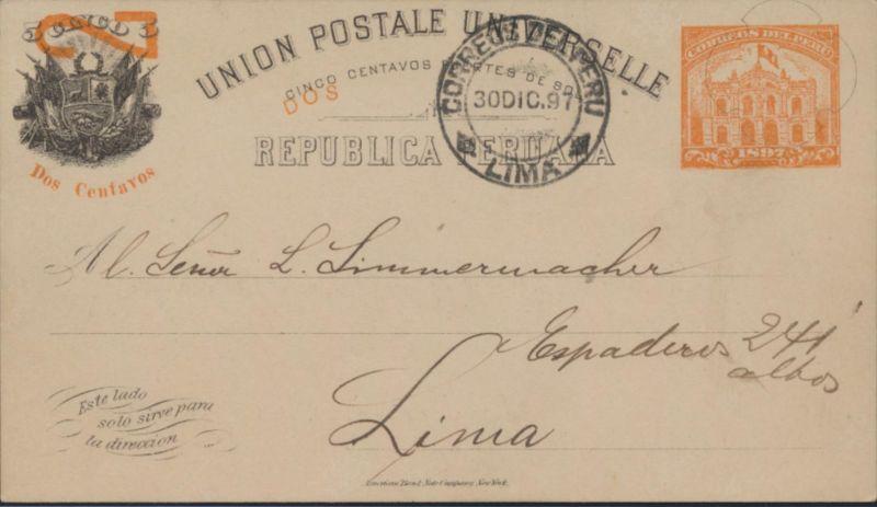 Peru Ganzsache postal stationery P 32 mit Eindruck Neujahr Lima 30.12.1897