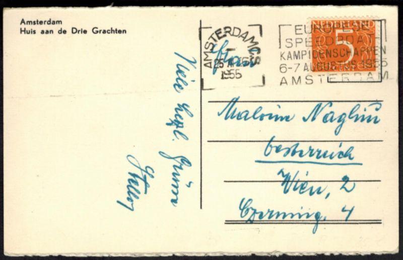 Niederlande Ansichtskarte Amsterdam mit SST Wassersport Speedboat Schiff 1955