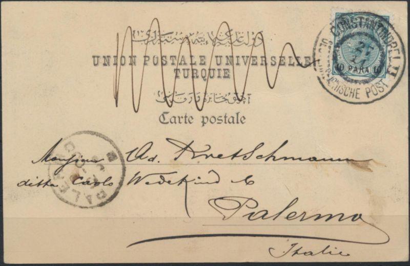 Ansichtskarte Österreichische Post in der Levante 39 Konstantinopel n. Palermo