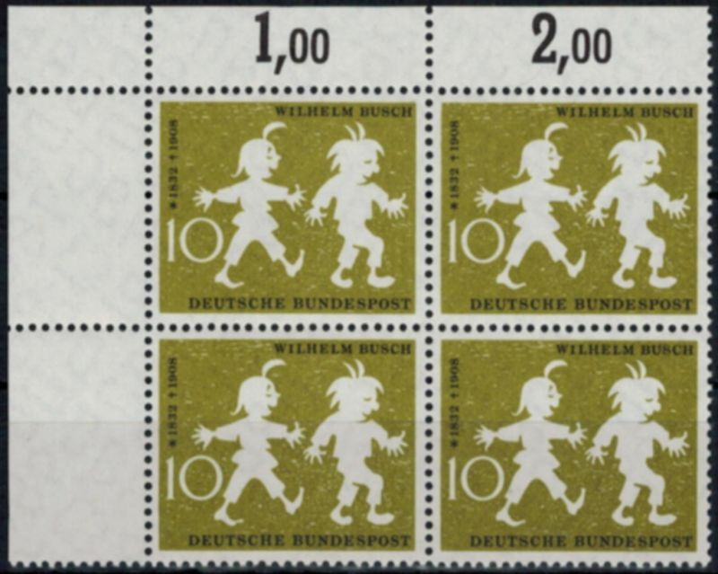 Bund 281 W. Busch 1958 Viererblock-Bogenecke Eckrand mit Plattenfehler I **