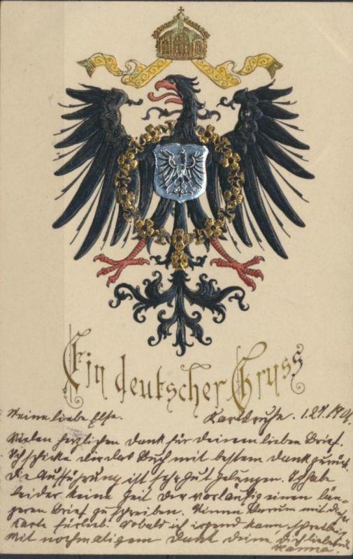 Ansichtskarte Prägekarte Wappen Adler Brustschild Ein deutscher Gruß Karlsruhe