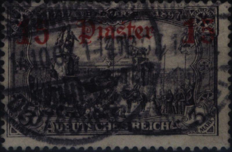 Deutsche Post Türkei 34 Querformat 15 Pia auf 3 M DAP Kolonien gestempelt