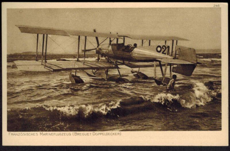 Ansichtskarte Marine Flugzeug Frankreich Breguet Doppeldecker Ostpreußenhilfe