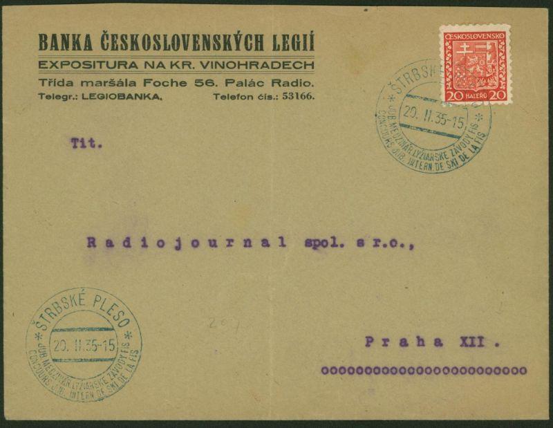 Tschechoslowakei Sport Wintersport Brief Štrbské Pleso 1935 Ski FIS Ski-Verband