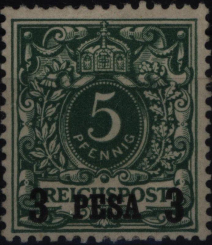 Deutsch-Ostafrika 2 Aufdruck 3 Pesa auf 5 Pfg 1893 DOA Kolonien ungebraucht *