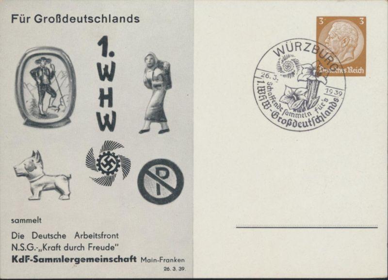 Deutsches Reich Privatganzsache PP 122 C 103 02  1. WHW SST Würzburg N.S.G Kraft