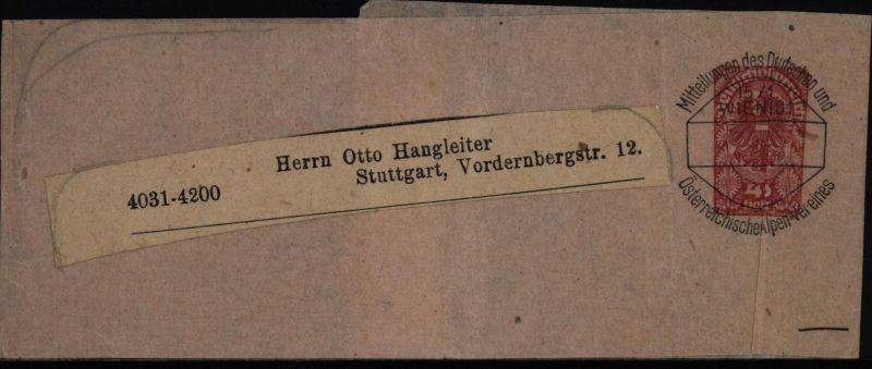 Österreich Ganzsache Streifband Vorausentwertung 4 S. Alpenvereins Kaiser Franz