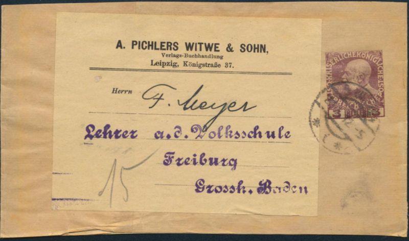 Österreich Privatganzsache Wien nach Freiburg Pforzheim A.Pichlers Witwe &Sohn