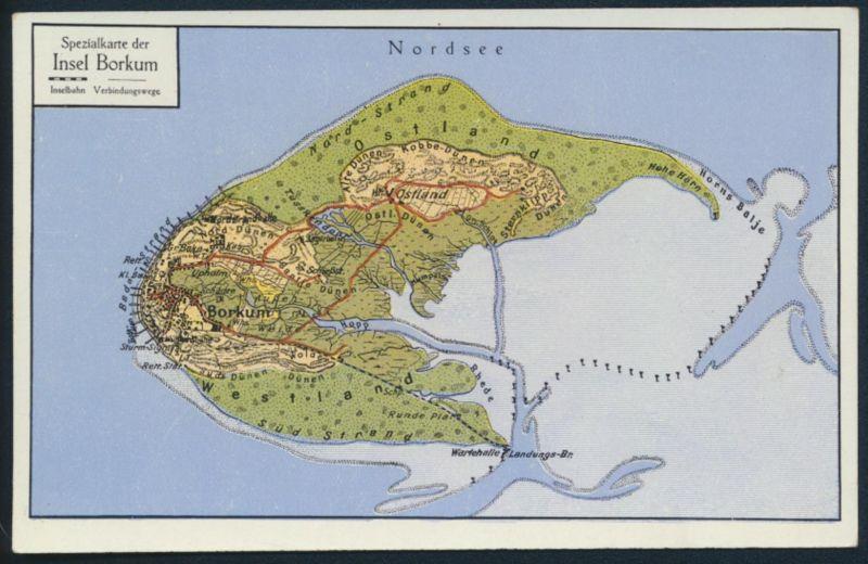 Nordsee Karte Niedersachsen.Ansichtskarte Insel Borkum Nordsee Landkarte Kartographie Niedersachsen