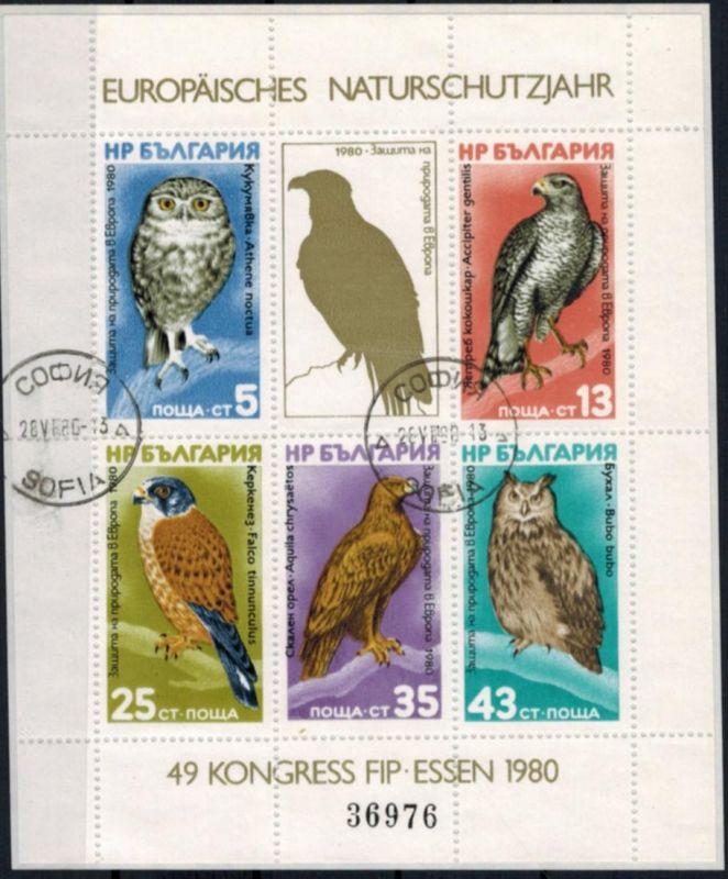 Bulgarien Block 105 Vögel 1980 Europa. Naturschutzjahr gestempelt
