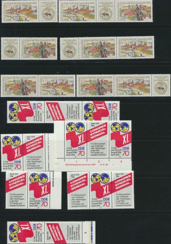 DDR Zusammendrucke aus 1986 ex 3011-3057 postfrisch