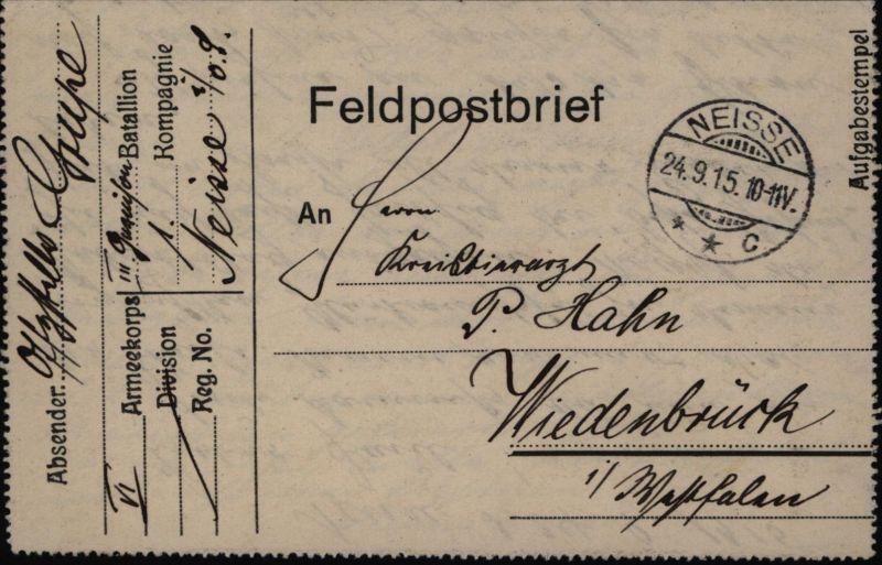 Deutsches Reich Feldpostbrief ab Neisse  Nysa nach Wiedenbrück 24.9.1915