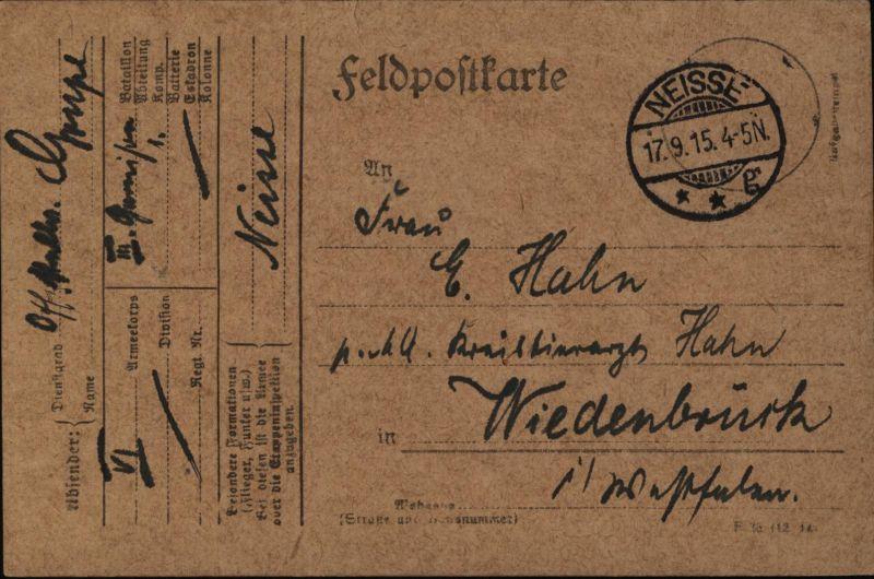 Deutsches Reich Feldpostkarte ab Neisse  Nysa nach Wiedenbrück 17.9.1915