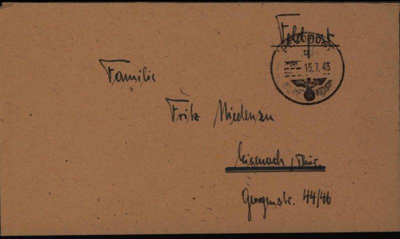 Deutsches Reich Brief Feldpost mit stummen Stempel 17104 n. Misenach Thüringen