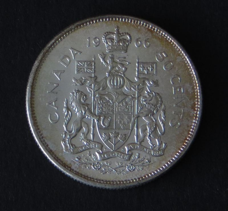 Silbermünze Kanada 50 Cents Staatswappen mit Wahlspruch 1966 fast stgl