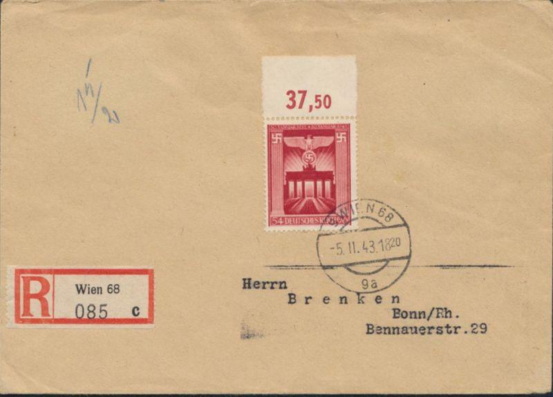 Österreich R-Brief mit Deutsches Reich 829 Oberrand Wien nach Bonn 5.2.1943