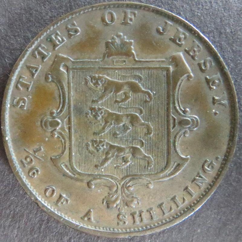 Münze Großbritannien - Jersey 1861 - 1/26 Shilling Königin Victoria Kupfer ss
