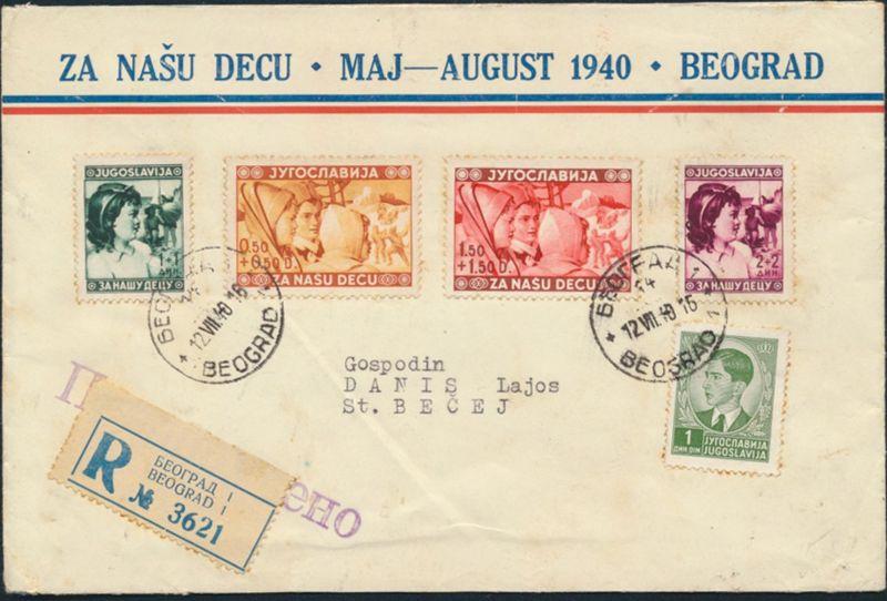 Jugoslawien R-Brief MIF 395+418-421 Belgrad nach St. Becej