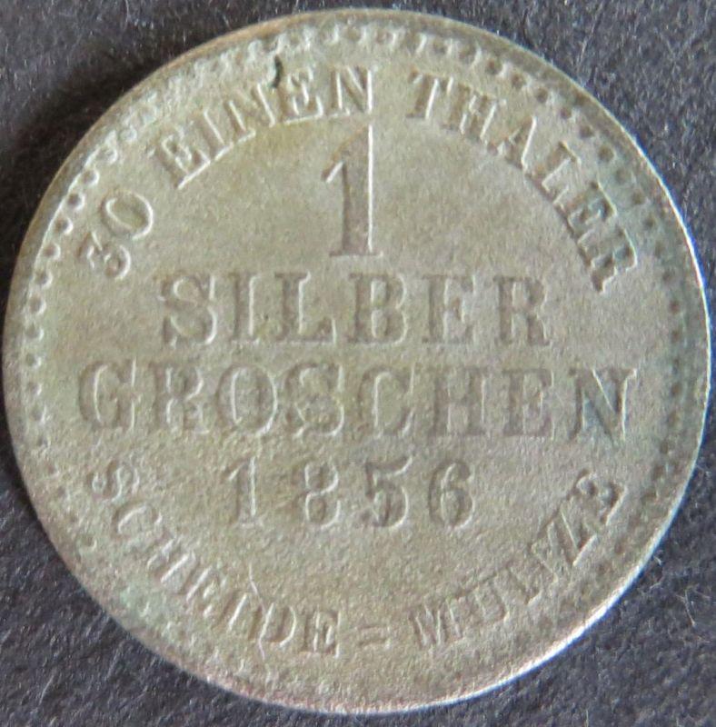 Münze Hessen 1856 - 1 Silbergroschen Gekröntes Löwenwappen  s-ss