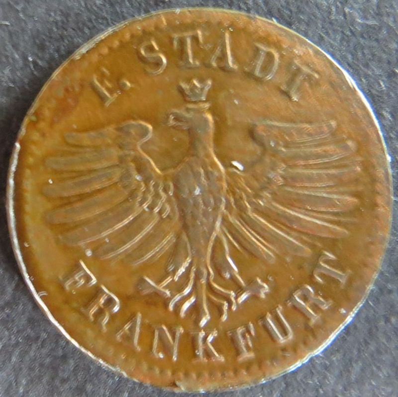 Münze Frankfurt 1849 - 1 Heller Gekrönter Adler Kupfer ss
