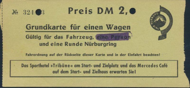 Ticket Gutschein Eintrittskarte 1 Runde Nürburgring + Fahrordnung Auto Rennsport