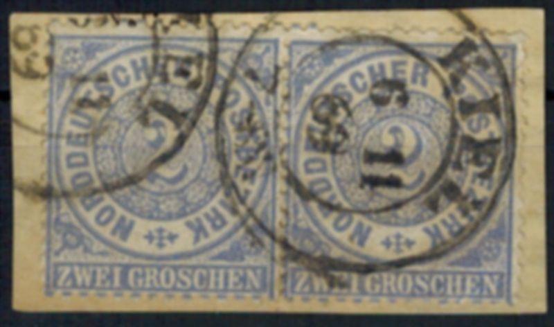 Norddeutscher Bund 17 Paar 2 Gr. mit K2 Kiel 6.11.1869 auf Briefstück
