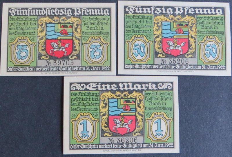 3x Notgeld Geldscheine Banknoten Brunsbüttelkoog 50 Pf- 1M 1922 Grabowski 194.1