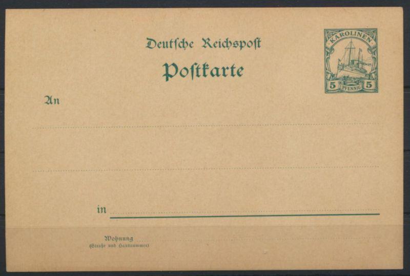 Deutsche Kolonien Karolinen Ganzsache P 7 Schiffszeichnung ungebraucht Ausgabe