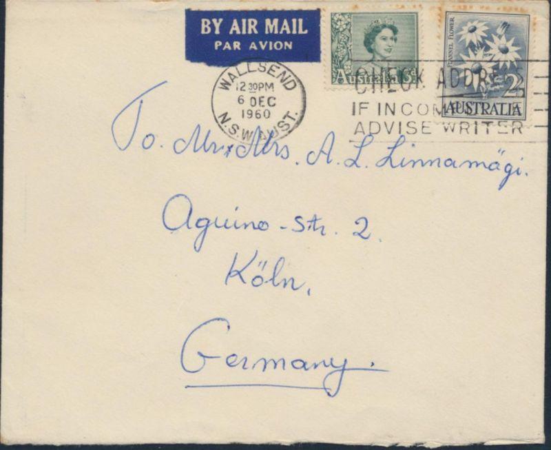 Australien Brief Luftpost MIF 289+299 Wallsend N.S.W. nach Köln 6.12.1960 0