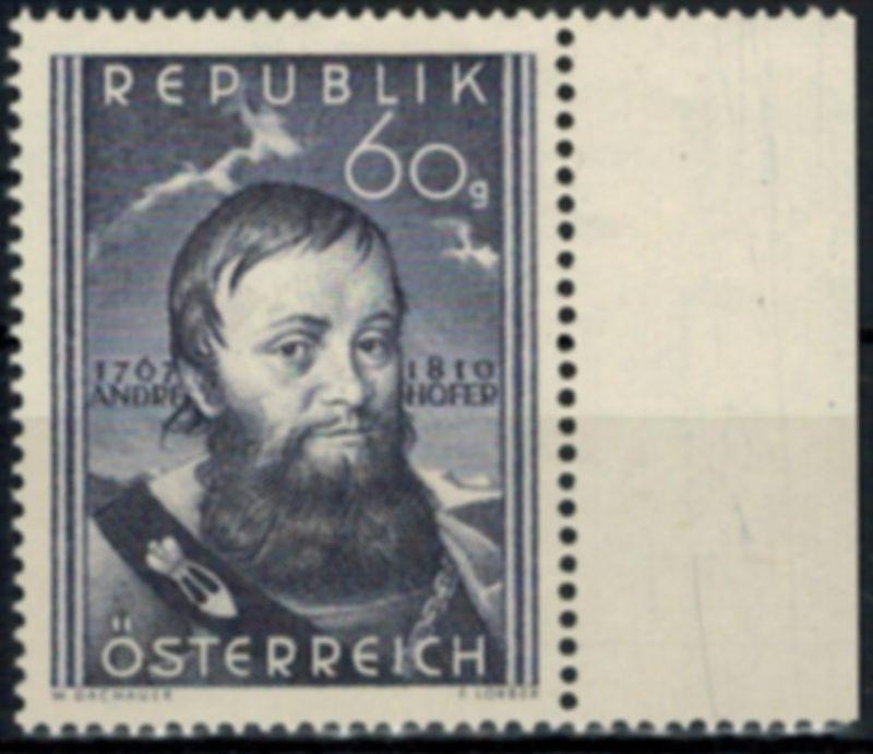 Österreich 949 140. Todestag von Andreas Hofer 1950 tadellos postfrisch