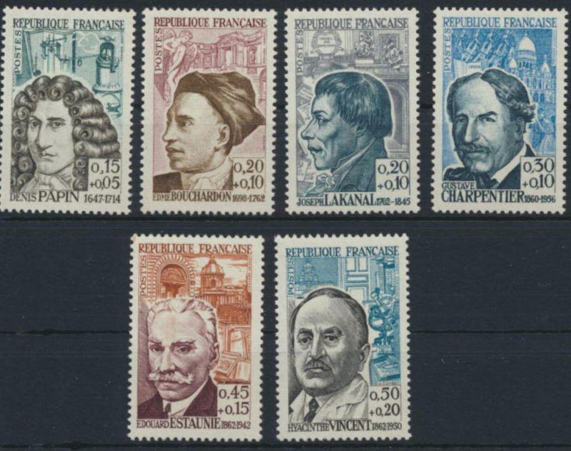 Frankreich Rotes Kreuz 0,15+0,5 Franc 1399-1404 postfrisch 1962