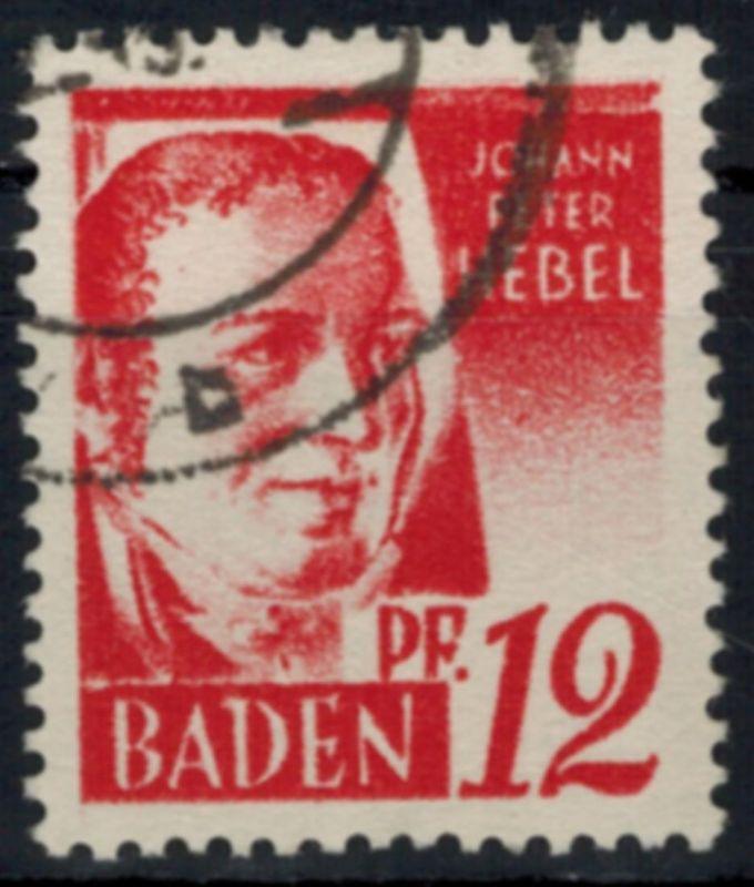 Französische Zone Baden 18 Plattenfehler III 12 Pfg J. P. Hebel gestempelt