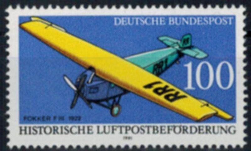 Bundesrepublik 1524 Plattenfehler I Flugzeug Fokker F III 1991 Abart postfrisch