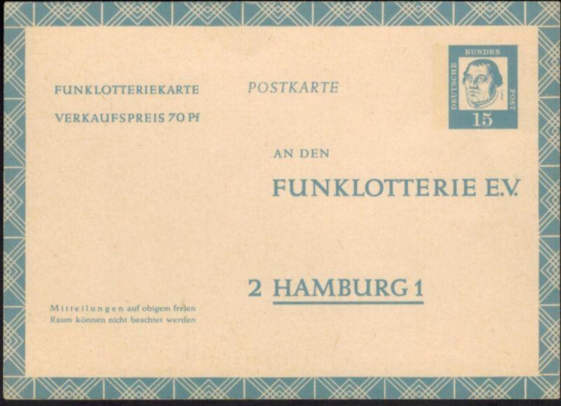 Berlin Ganzsache FP 7 15 Pfg. Funklotterie Luther Dürer ungebraucht 1963