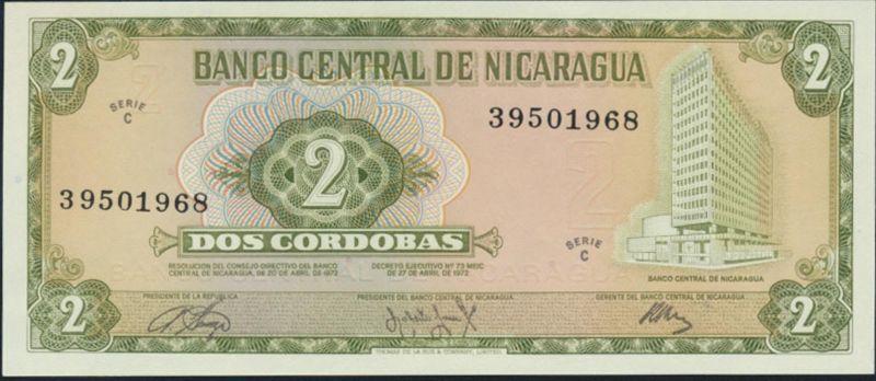 Geldschein Banknote Nicaragua 2 Cordobas 1972 P-121a bankfrisch UNC