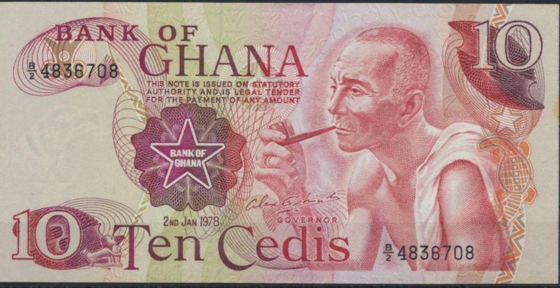 Geldschein Banknote Ghana 10 Cedis 1978 P-16f bankfrisch UNC