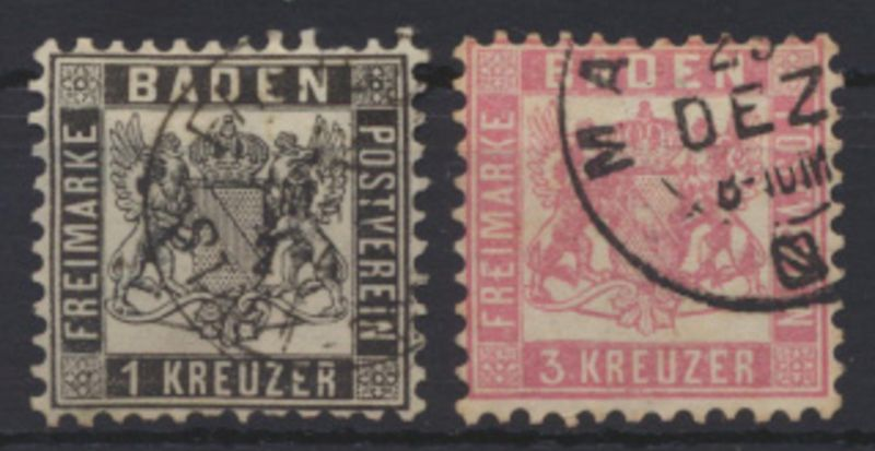 Altdeutschland Baden 17 a + 18 sauber gestempelt Kat.-Wert 19,00